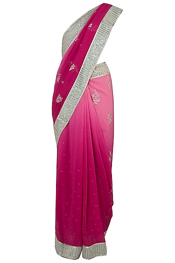 Pink embroidered saree by House of Kotwara