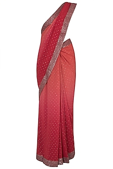 Red ombre embroidered saree by House of Kotwara