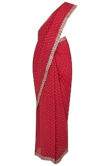 Red embroidered saree by House of Kotwara
