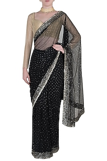 Black embroidered georgette saree by Kotwara by Meera and Muzaffar Ali