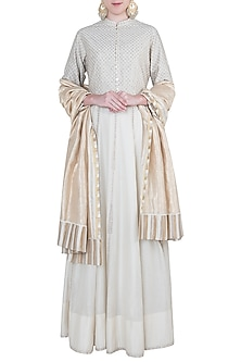 Ivory embroidered peshwa kurta set by Kotwara by Meera and Muzaffar Ali