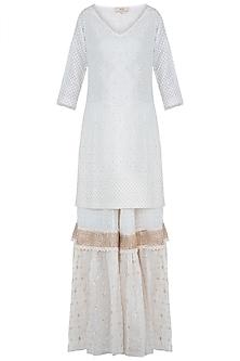 Ivory embroidered kurta set by Kotwara by Meera and Muzaffar Ali