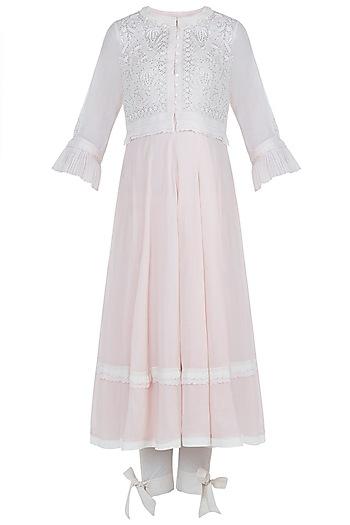 Pink peshwa kurta set with waistcoat by House of Kotwara