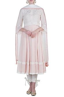 Pink peshwa kurta set with waistcoat by Kotwara by Meera and Muzaffar Ali