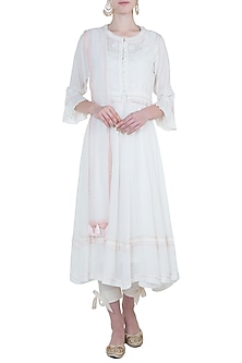 Ivory peshwa kurta set with waistcoat by Kotwara by Meera and Muzaffar Ali
