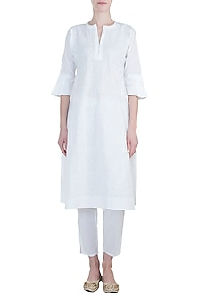 White chikankari kurta with pants by Kotwara by Meera and Muzaffar Ali