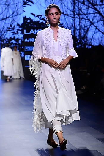White Peshwa Jacket, Waistcoat, Pants and Scarf Set by Kotwara by Meera and Muzaffar Ali