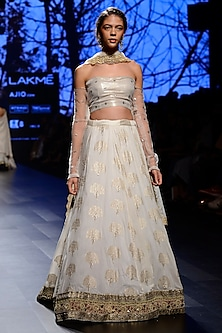 Ivory Silk Brocade Lehenga Skirt with and Off Shoulder Blouse Set by Kotwara by Meera and Muzaffar Ali