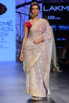 Grey Floral Motifs Saree with Embroidered Blouse by Kotwara by Meera and Muzaffar Ali