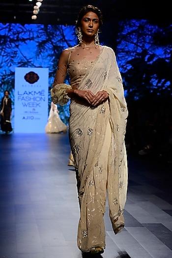 Gold Mukaish Work Saree with Sheer Chevron Lace Blouse by Kotwara by Meera and Muzaffar Ali