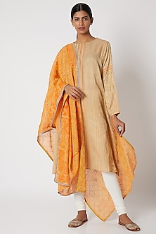 Cream & Orange Printed Tunic by Krishna Mehta
