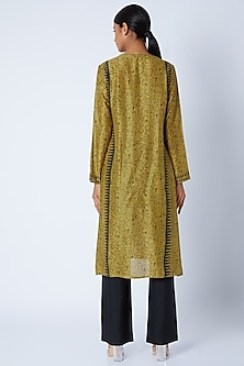Olive Green Block Printed Tunic by Krishna Mehta