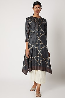Charcoal Grey Kantha Embroidered Tunic by Krishna Mehta
