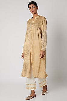 Cream Embroidered Tunic With Pintucks by Krishna Mehta