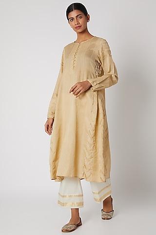 Cream Block Printed Tunic by Krishna Mehta