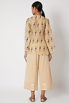 Beige Pants With Cutwork by Krishna Mehta