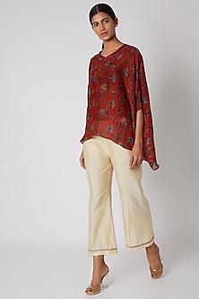 Ecru White Pants With Gota Border by Krishna Mehta