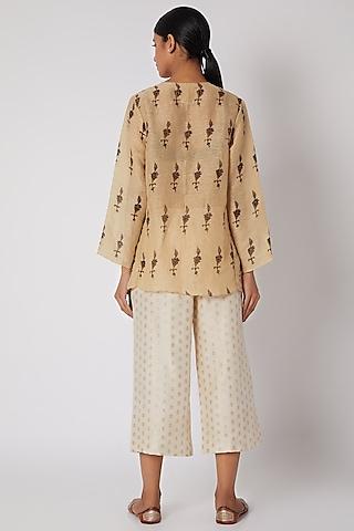 Ecru White Pants With Cutwork by Krishna Mehta