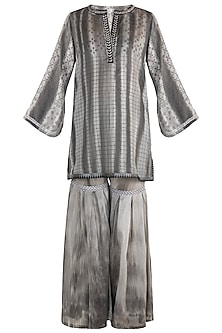 Black Printed Embellished Textured Kurta With Sharara Pants by Krishna Mehta