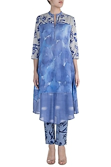 Blue & Purple Printed Embroidered Tunic With Pants by Krishna Mehta