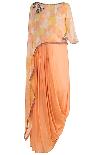 Peach Embroidered Printed Asymmetrical Top With Draped Skirt by Krishna Mehta