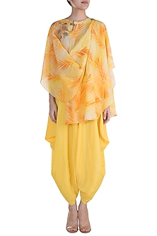 Yellow & Orange Embroidered Printed Top With Dhoti Pants by Krishna Mehta