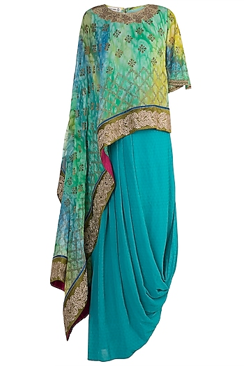 Blue Marble Dye Printed Embroidered Top With Draped Skirt by Krishna Mehta