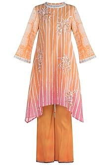 Peach Embellished Printed Kurta Set by Krishna Mehta