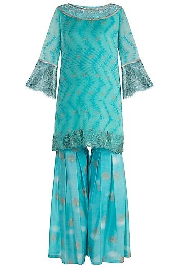 Turquoise Embellished & Tie-Dye Printed Sharara Set by Krishna Mehta