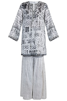 Black Embellished Printed Shirt Kurta With Sharara Pants by Krishna Mehta