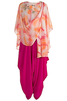 Pink & Orange Embroidered & Tie-Dye Printed Top With Dhoti Pants by Krishna Mehta
