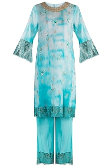 Turquoise Embroidered Printed Kurta Set by Krishna Mehta