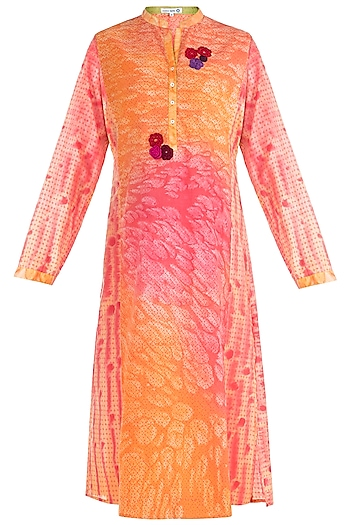 Orange Printed Embroidered Tunic by Krishna Mehta