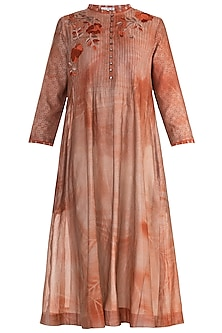 Rust Printed Embroidered Tunic by Krishna Mehta