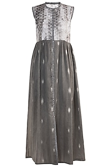 Grey Printed Embroidered Tunic by Krishna Mehta