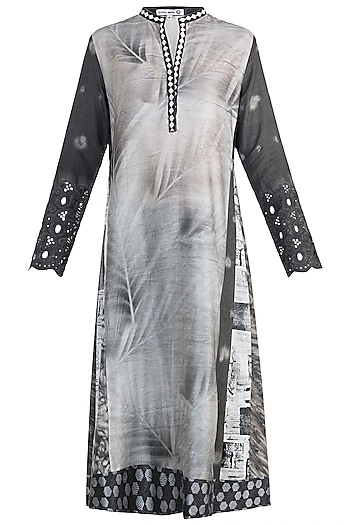 Black Printed Embroidered Tunic With Slip by Krishna Mehta