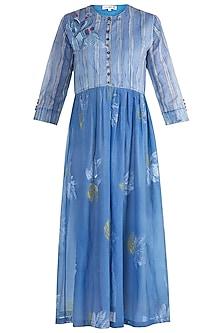 Blue Printed Embellished Midi Dress by Krishna Mehta