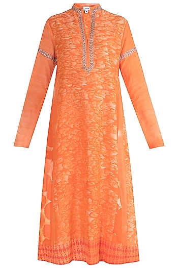 Orange Embroidered Chanderi Tunic by Krishna Mehta