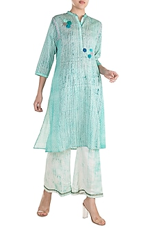 Turquoise Printed Embroidered Tunic by Krishna Mehta