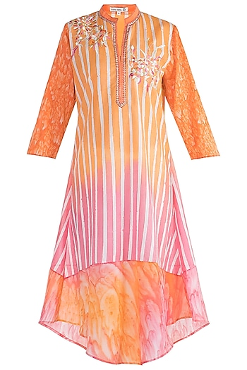 Pink & Orange Embroidered Tunic by Krishna Mehta