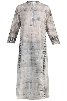 Grey Hand Brush Print Tunic  by Krishna Mehta
