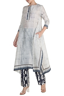 Off White Hand Brush Printed Tunic by Krishna Mehta