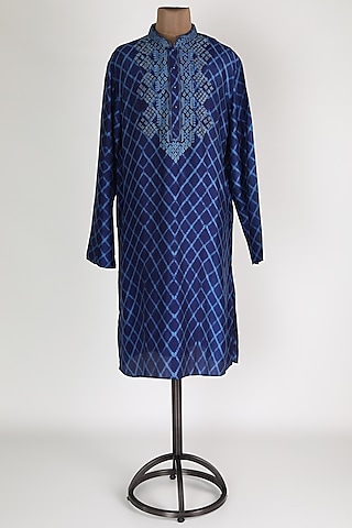 Indigo Blue Embroidered Printed Kurta Set by Krishna Mehta Men