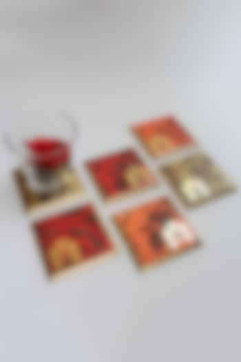 Orange Gulbagh Coasters (Set of 6) by Karo