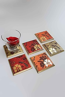 Orange Gulbagh Coasters (Set of 6) by Karo