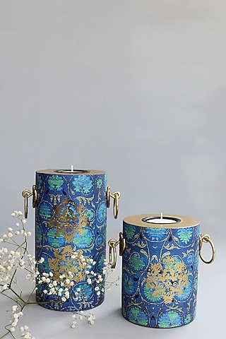 Blue Handcrafted Vamika Pillar Candle Holders (Set of 2) by Karo