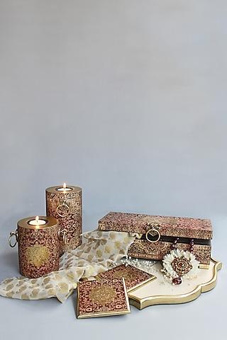 Brown Handcrafted Parijat Coasters (Set of 6) by Karo
