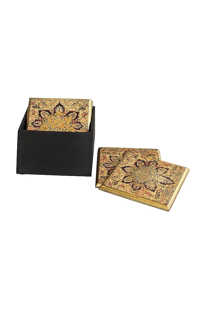 Brown Handcrafted Pamira Coasters (Set of 6) by Karo