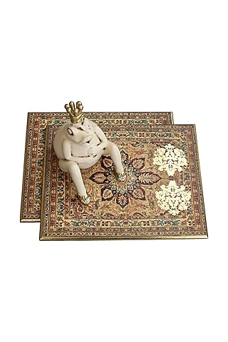 Brown Handcrafted Pamira Trivets (Set of 2) by Karo