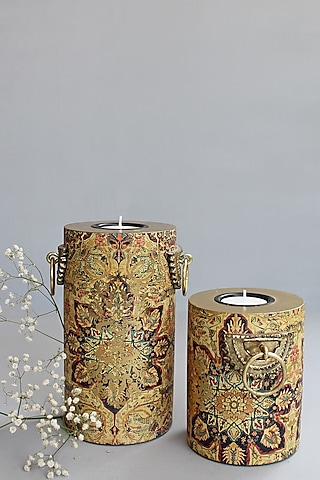 Brown Handcrafted Pamira Pillar Candle Holders (Set of 2) by Karo